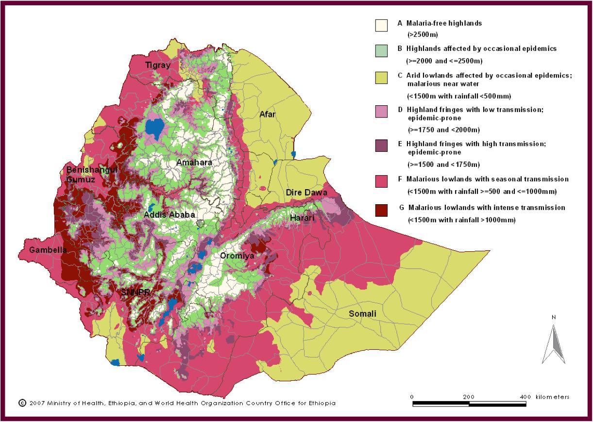 Etiopia Malaria Kartta Kartta Etiopia Malaria Ita Afrikka Ja